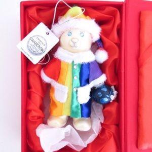 Swarovski Crystals Rainbow Peace Bear Ornament
